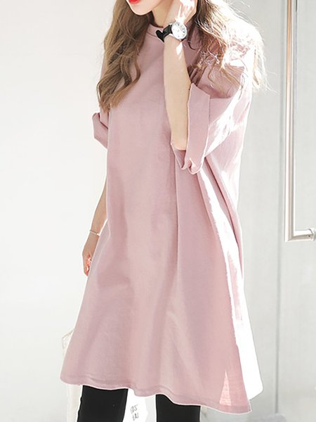 Pink Women Casual Dress Crew Neck Daily Short Sleeve Cotton-blend Dress