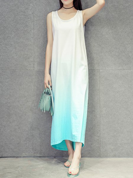 Women Casual Dress Crew Neck Going out Cape Sleeve Ombre/Tie-Dye Dress