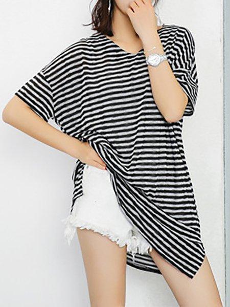 Black Women Casual Dress V neck Daytime Short Sleeve Slit Dress
