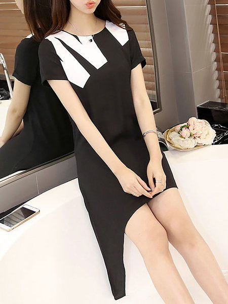 Black Women Casual Dress Crew Neck Asymmetrical Daily Paneled Solid Dress