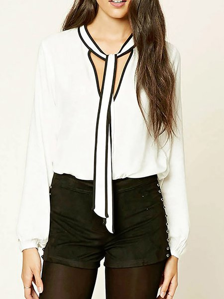 V Neck Casual Drawcord Chiffon Shirts