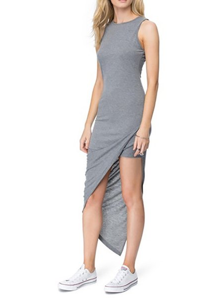 Gray Women Casual Dress Slit Solid Dress