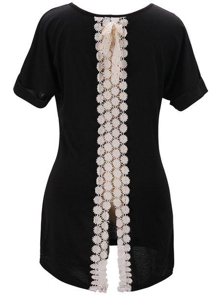 Short Sleeve Cotton-blend Slit T-Shirt
