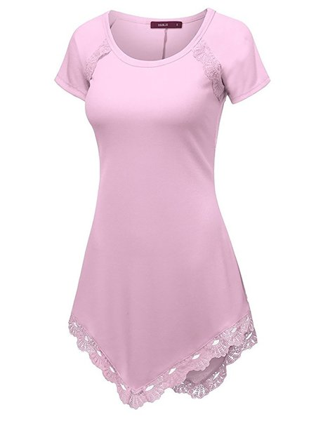 Paneled Solid Short Sleeve T-Shirt