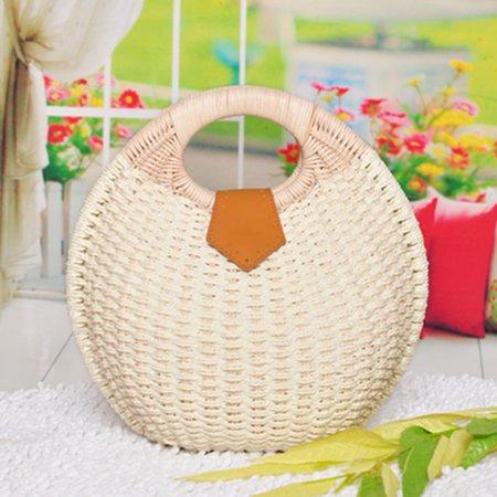 Ladies Sweet Lovely Shell Shape Tote Bag Beach Straw Handbag