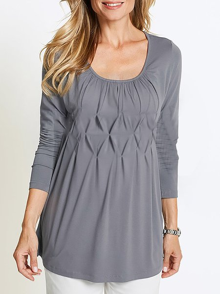 Long Sleeve Casual Paneled T-Shirt