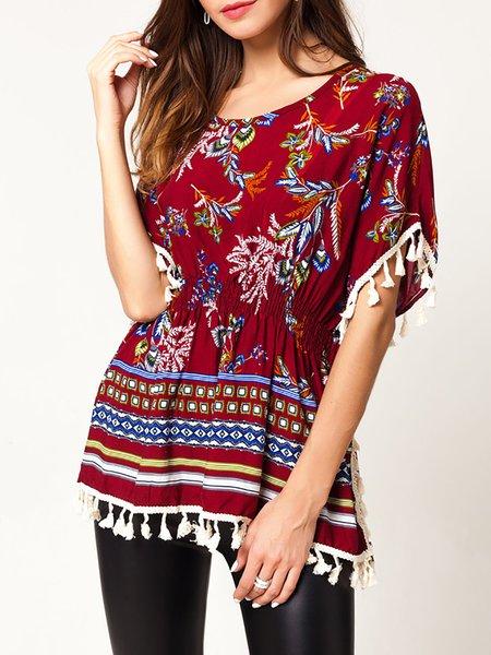 Casual Floral-print Short Sleeve T-Shirt