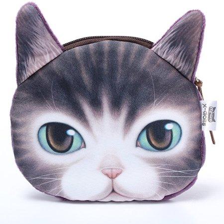 Women Lovely Cute 3D Cat Face Printed Coin Zipper Wallet Purse
