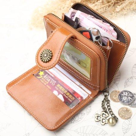 Women Oil-Wax PU Leather Trifold Purse Card Holder Retro Short Wallet