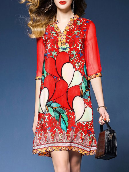 Red Women Casual Dress Sheath Going out Half Sleeve Floral Dress