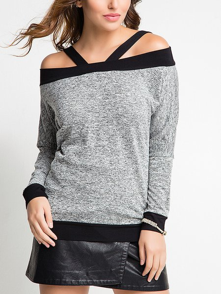 Spaghetti Long Sleeve Cotton-blend Solid Casual T-Shirt