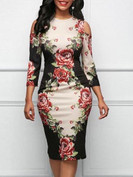 Black Women Elegant Dress Cold Shoulder Sheath Elegant Floral Dress