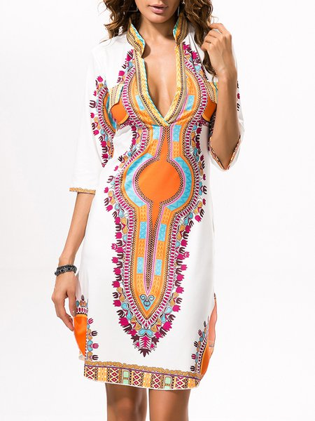 Orange Women Casual Dress Daily Half Sleeve Printed Dress