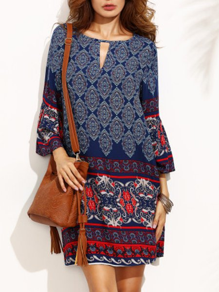 Blue Women Casual Dress Crew Neck Printed Tribal Dress