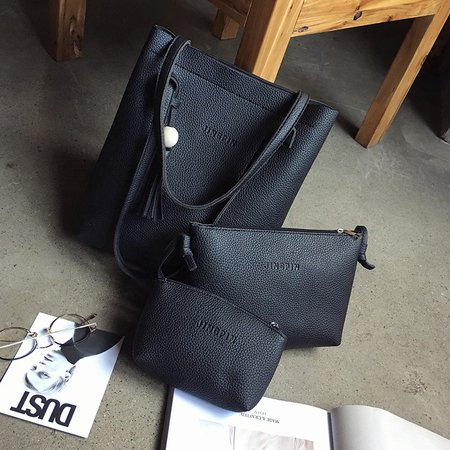 3PCS Tassel Decoration Fashion Shoulder Bag Sets For Women