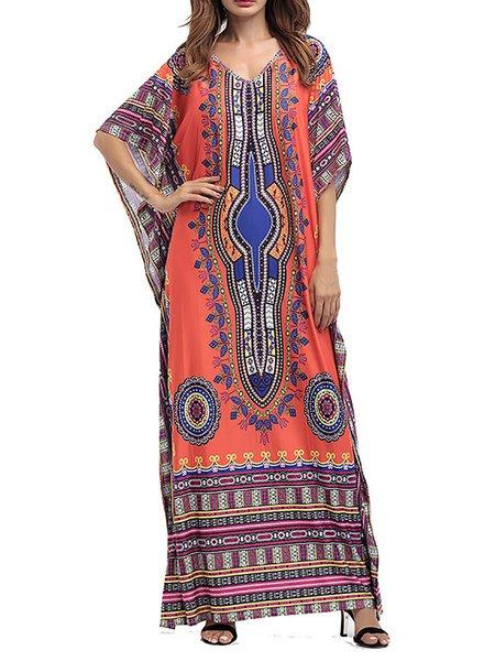 Women Casual Dress A-line Casual Tribal Dress