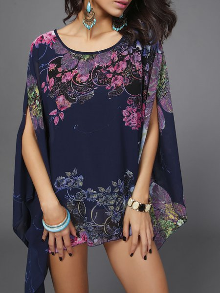 Crew Neck Casual Chiffon Floral Blouse