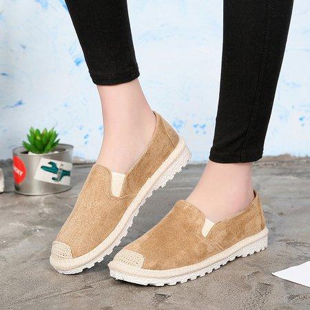 Artificial Nubuck Camel Cozy Flat Loafers