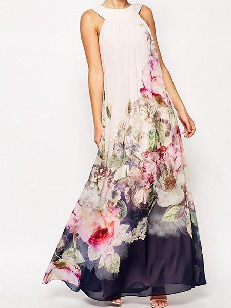 Beige Women Elegant Dress Halter A-line Daily Casual Cotton-blend Dress