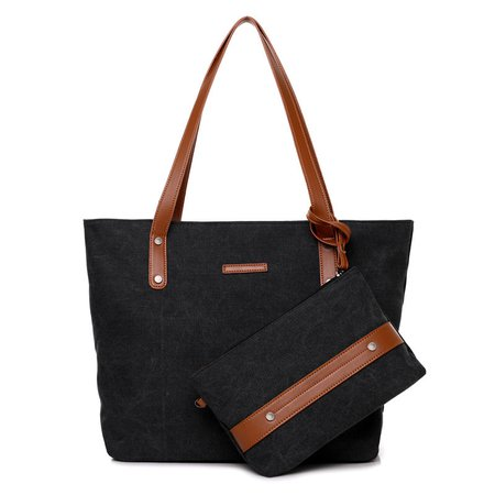Wearproof Canvas 2PCS Large Capacity Solid Tote Bag Shoulder Bag