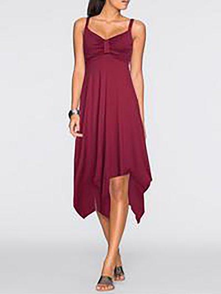 Women Casual Dress Spaghetti A-line Daily Spaghetti Cotton-blend Dress