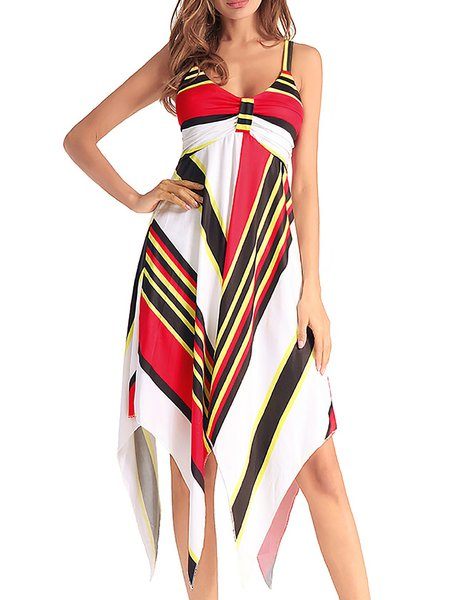 Women Casual Dress Spaghetti A-line Asymmetric Striped Dress