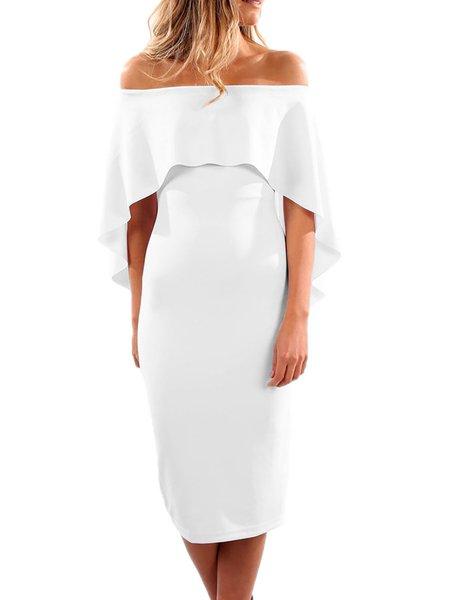Women Casual Dress Sheath Daily Short Sleeve Solid Dress