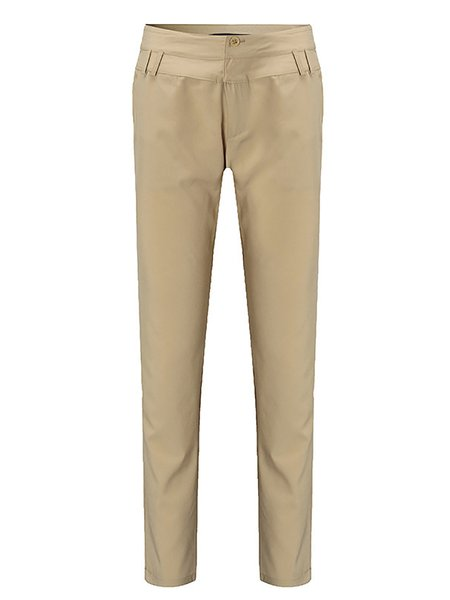 Casual Cotton-blend Solid Pants