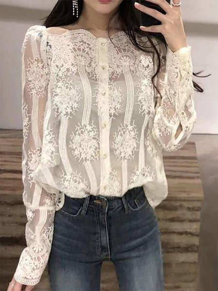 Long Sleeve Casual Solid See-through Look Blouse