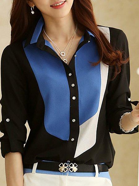 Shawl Collar Color-block Long Sleeve Shirts