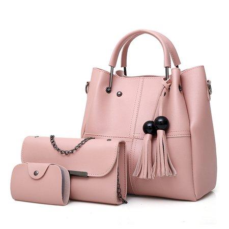 3PCS Elegant PU Leather Tassel Beads Tote Bag Crossbody Bag For Women