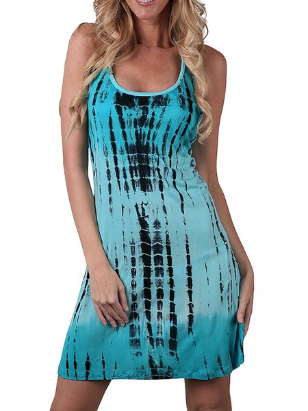 Women Casual Dress Crew Neck A-line Daily Casual Cotton-blend Dress
