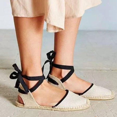Holiday Canvas Lace-up Flat Heel Sandals