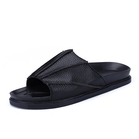 Mens Slip on Bat Microfiber Leather Flat Heel Slippers