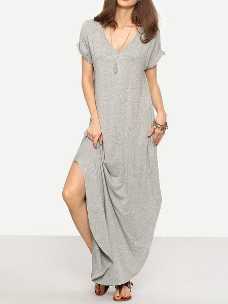 Women Casual Dress Daily Short Sleeve Slit Dress