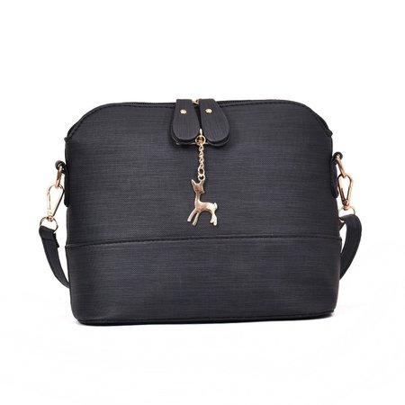 Women Stylish Shell Shape Elk Pendant PU Leather Sweet Crossbody Bag
