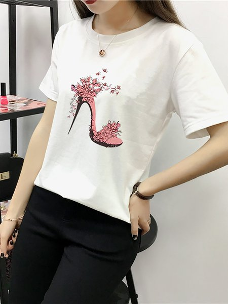 White Crew Neck Spandex Printed Short Sleeve T-Shirt
