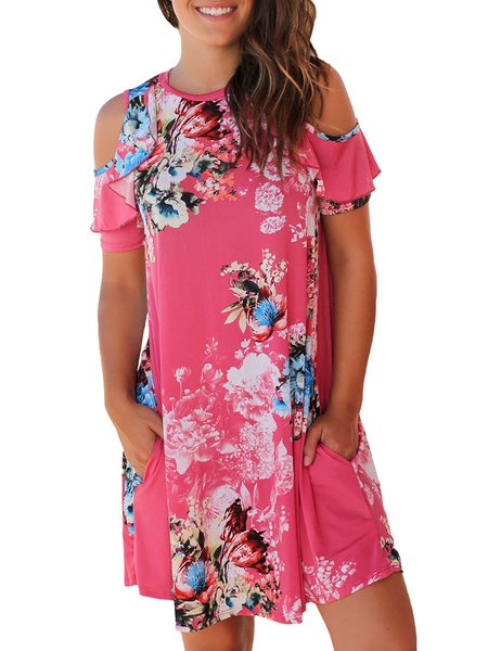 Women Print Dress A-line Daily Paneled Floral Dress