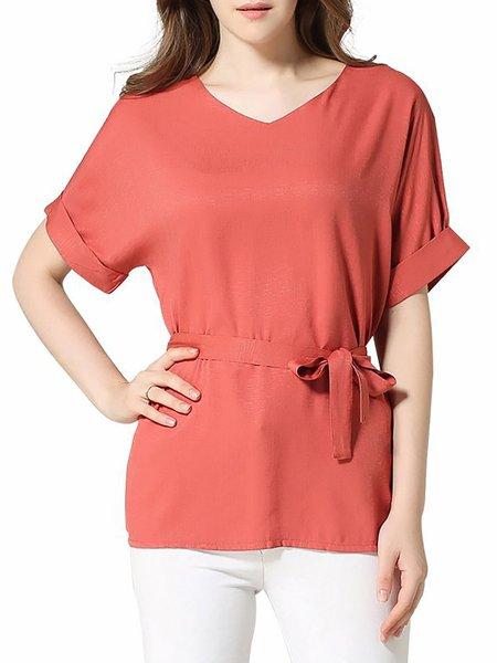 Casual Short Sleeve Maxi Size T-Shirt
