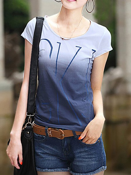 Short Sleeve Gradient Casual T-Shirt