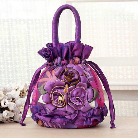 Flower Applique Graceful Drawstring Shopping Retro Tote Bag For Women