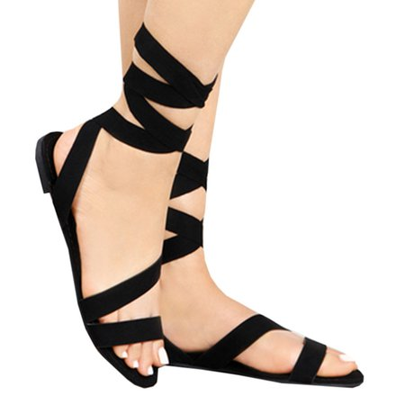 Flocking Lace-up Daily Flat Heel Sandals
