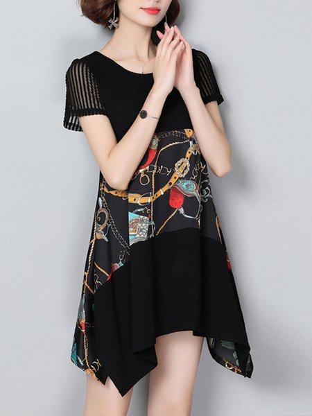 Short Sleeve Elegant Paneled Crew Neck Chiffon Casual Dresses