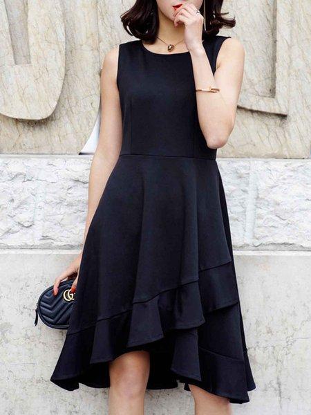Black Casual Solid Elegant Dresses