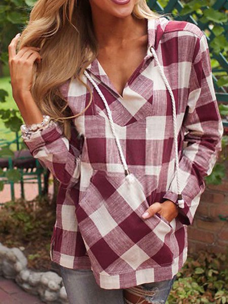 Polyester Casual Checkered/Plaid Long Sleeve T-Shirt