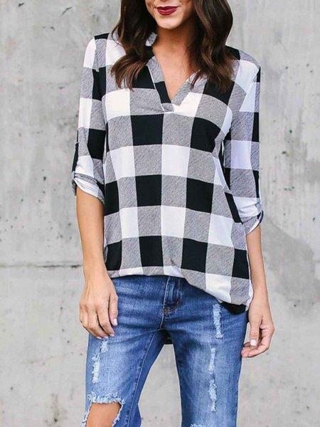 Casual Checkered/Plaid V Neck T-Shirt