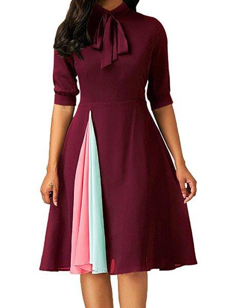 Paneled Casual Swing Half Sleeve Casual Dresses
