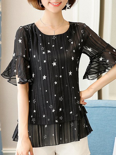 Frill Sleeve Painted Casual Maxi Size T-Shirt