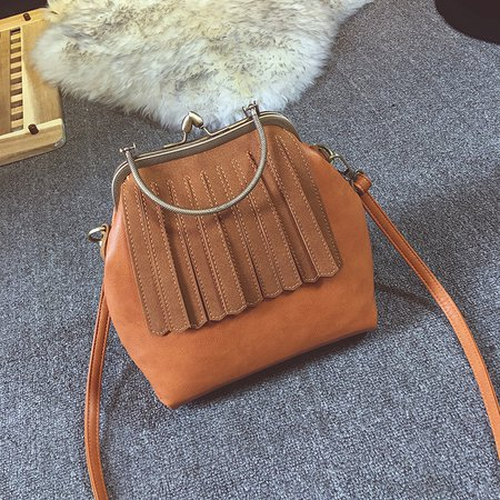 Retro PU Leather  Feather Decoration Tote Bag Crossbody bag For Women