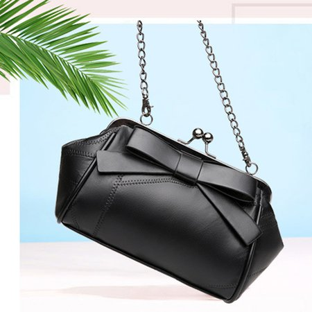 Exquisite Kiss Lock Bow Genuine Leather Party Dating Crossbody Bag For Women